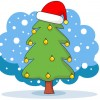 christmas tree with red hat